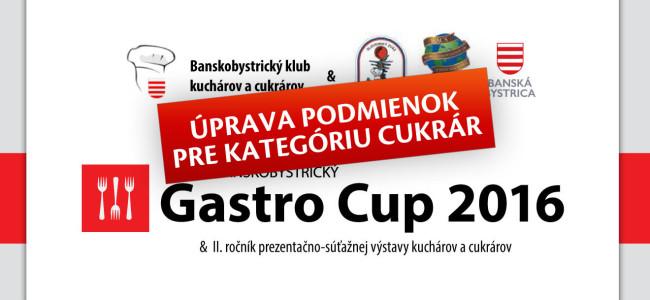 Banskobystrický GASTRO CUP 2016 – úprava podmienok pre kategóriu CUKRÁR