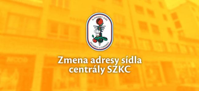 Zmena adresy sídla centrály SZKC